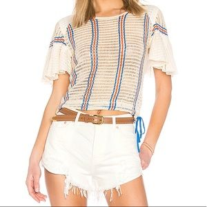 NEW Free People Babes Only Striped Tee Ivory